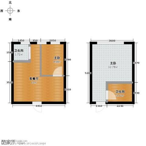 铭仁家园2室1厅2卫0厨51.00㎡户型图