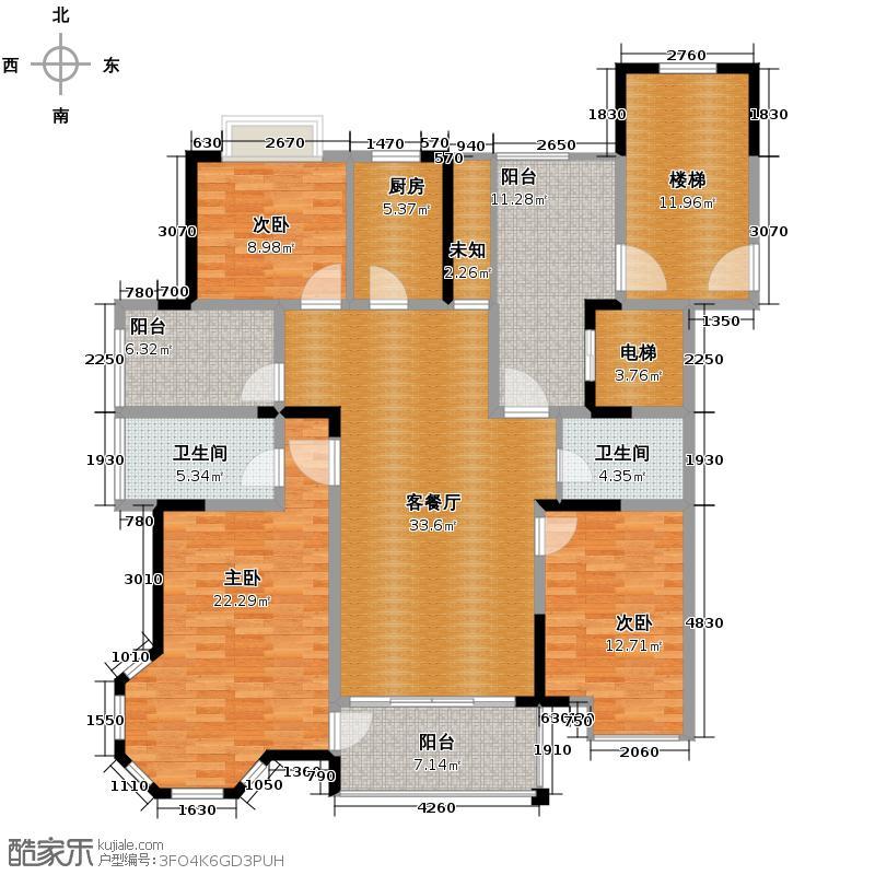 德意空港国际118.37㎡B西边套户型3室2厅2卫