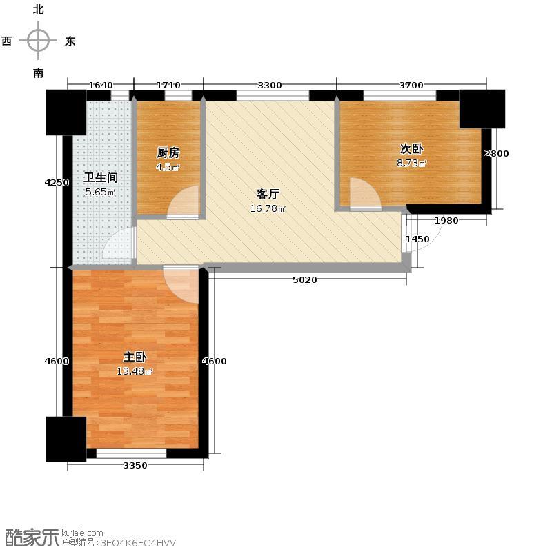 中安美寓71.52㎡小高层E1a户型2室1厅1卫