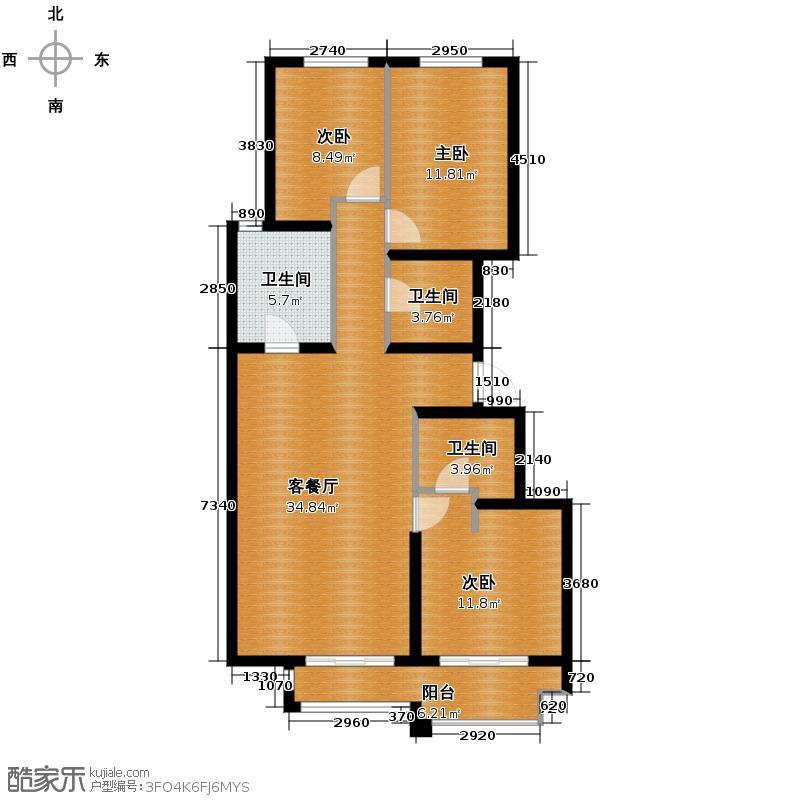 4号线孔雀大卫城98.54㎡D2已售完户型3室1厅3卫