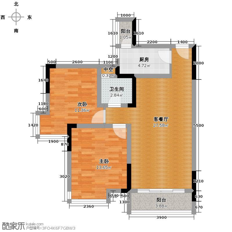 长城世家二期76.32㎡21-24#03单位户型2室1厅1卫1厨