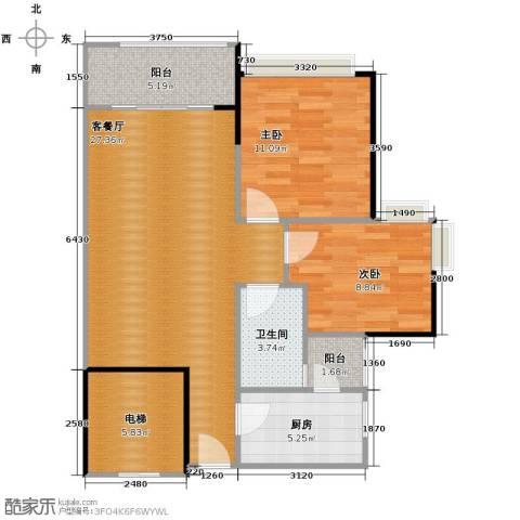 保利红珊瑚2室2厅1卫0厨78.00㎡户型图