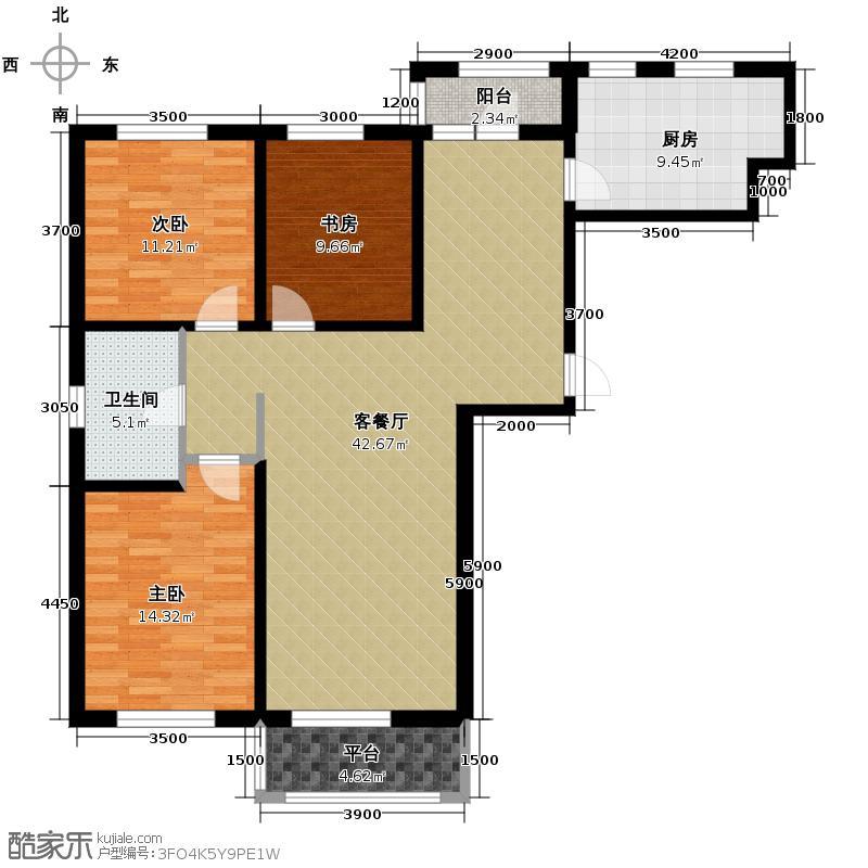 亚泰梧桐公馆111.00㎡D5户型3室1厅1卫1厨