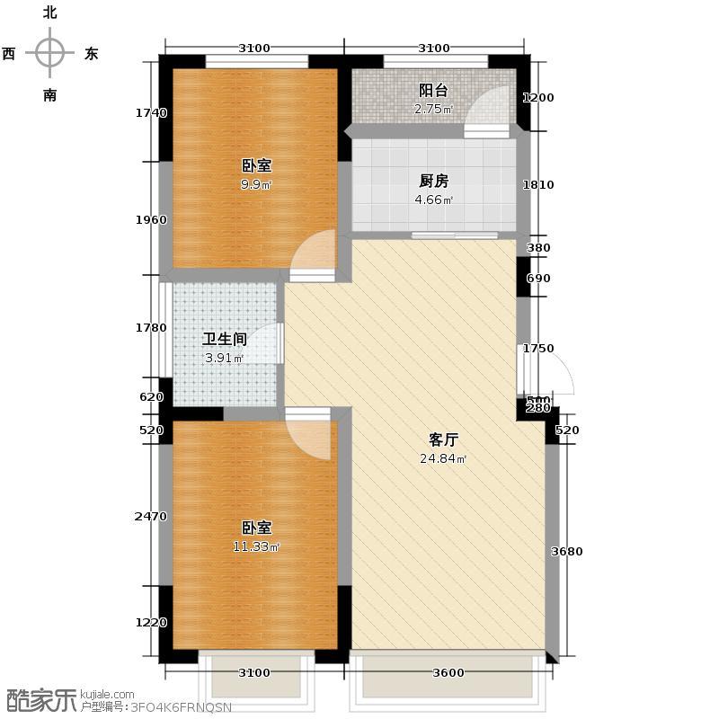 东田青年城65.96㎡户型10室