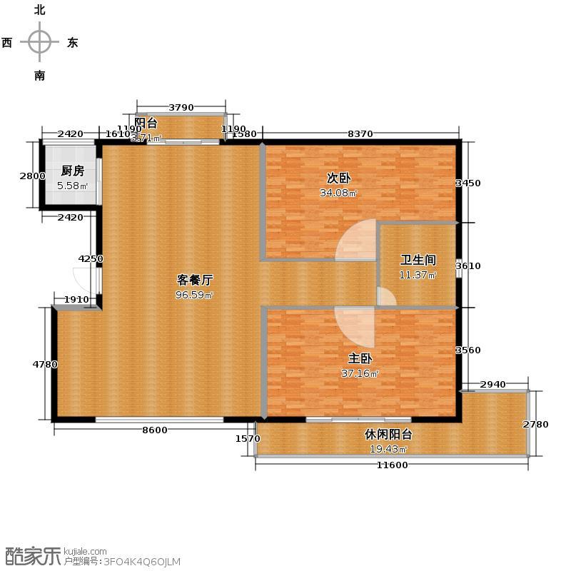 景园盛世华都223.85㎡B一层户型2室1厅1卫1厨