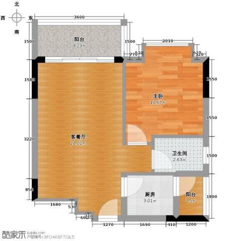 长城世家1室1厅1卫1厨62.00㎡户型图