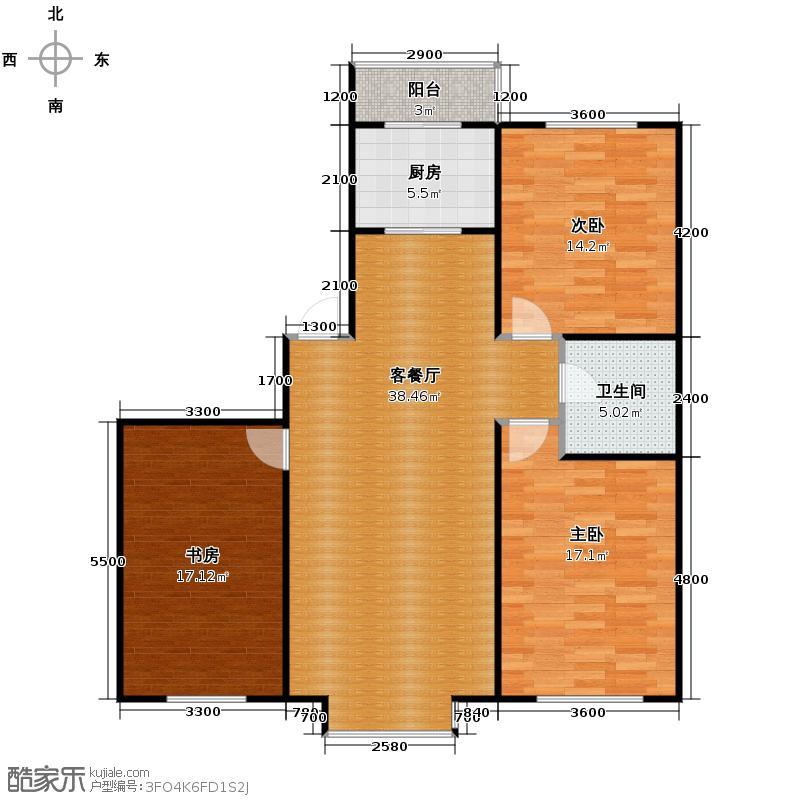 自由花园120.61㎡b户型3室1厅1卫1厨