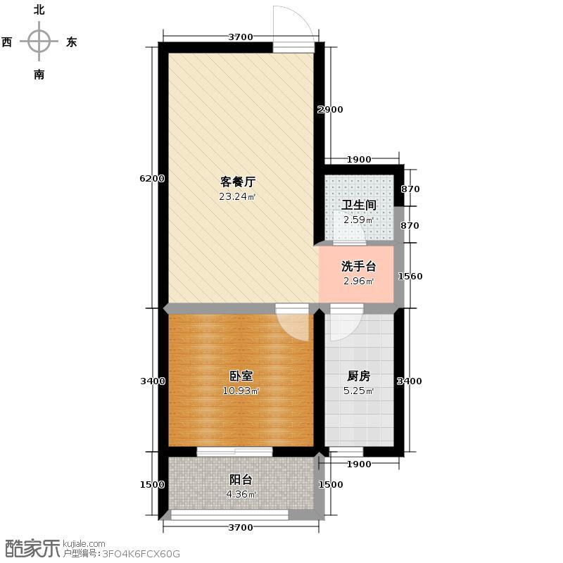 中兴和园53.80㎡1#4单元-03-A1反一室户型1厅1卫1厨