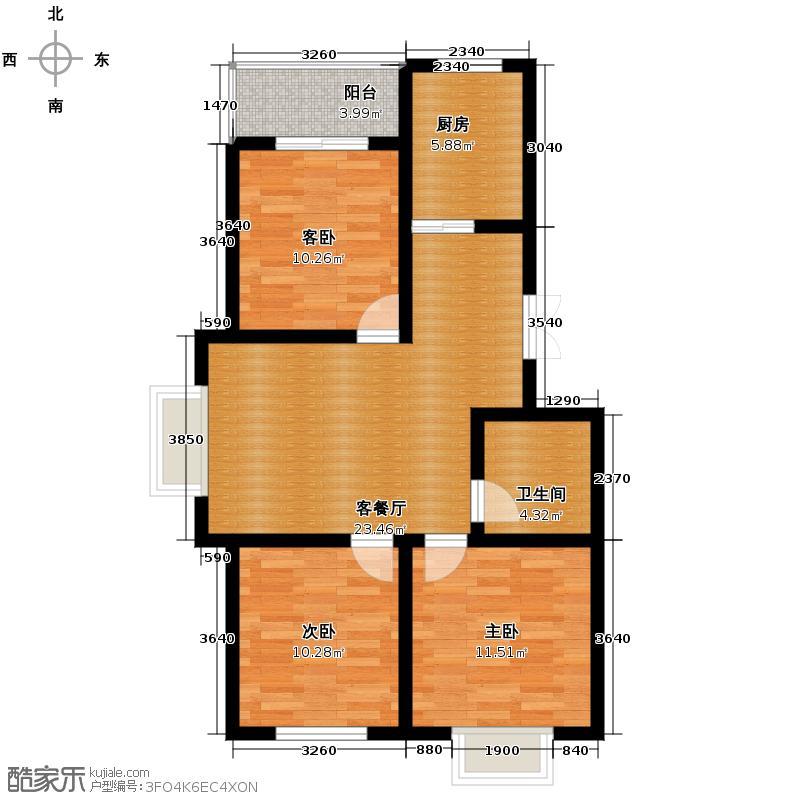 林语兰庭80.54㎡B1户型3室2厅1卫