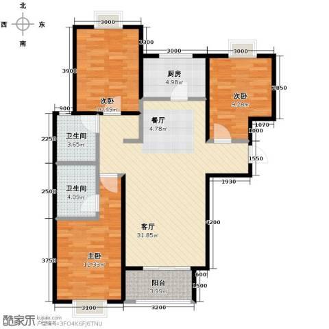 4号线孔雀大卫城3室1厅2卫1厨113.00㎡户型图