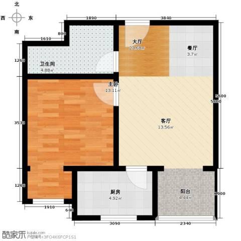 黄金SOHO1室0厅1卫1厨68.00㎡户型图
