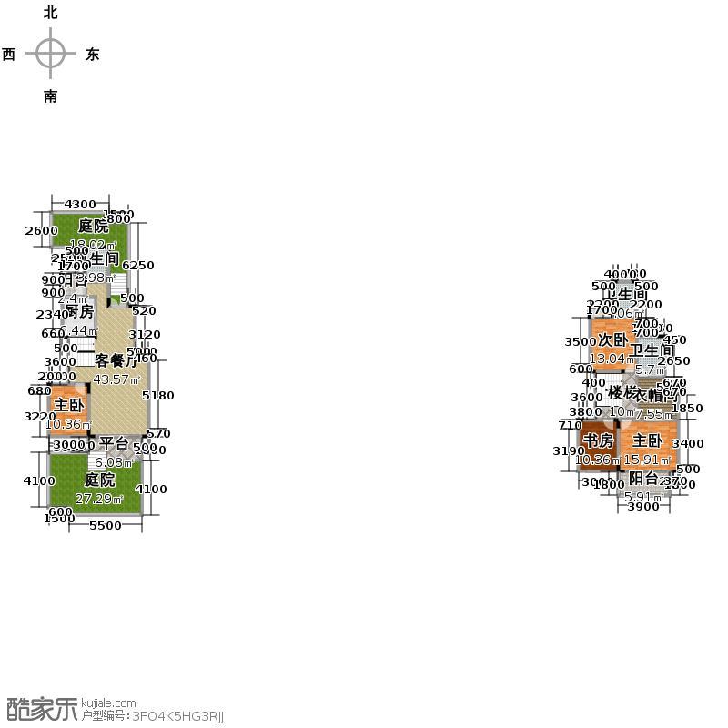 中铁山水一舍160.00㎡一期部分楼栋标准层F1-1户型4室1厅3卫1厨