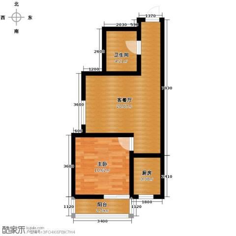 西堤国际1室1厅1卫1厨59.00㎡户型图