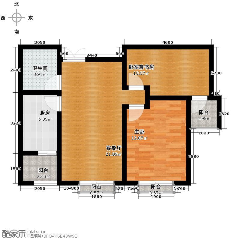 林语兰庭77.97㎡A3户型2室2厅1卫