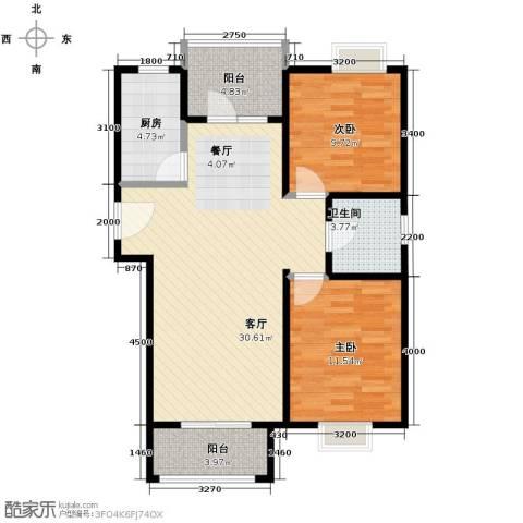 4号线孔雀大卫城2室1厅1卫1厨90.00㎡户型图