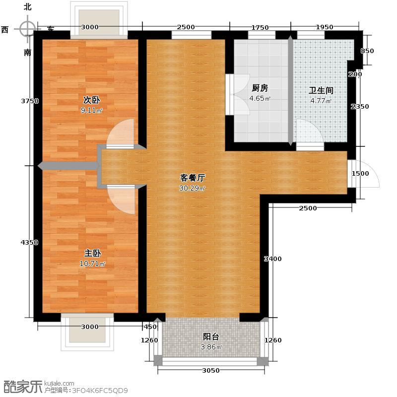夏威夷・蓝湾88.00㎡F1户型2室2厅1卫
