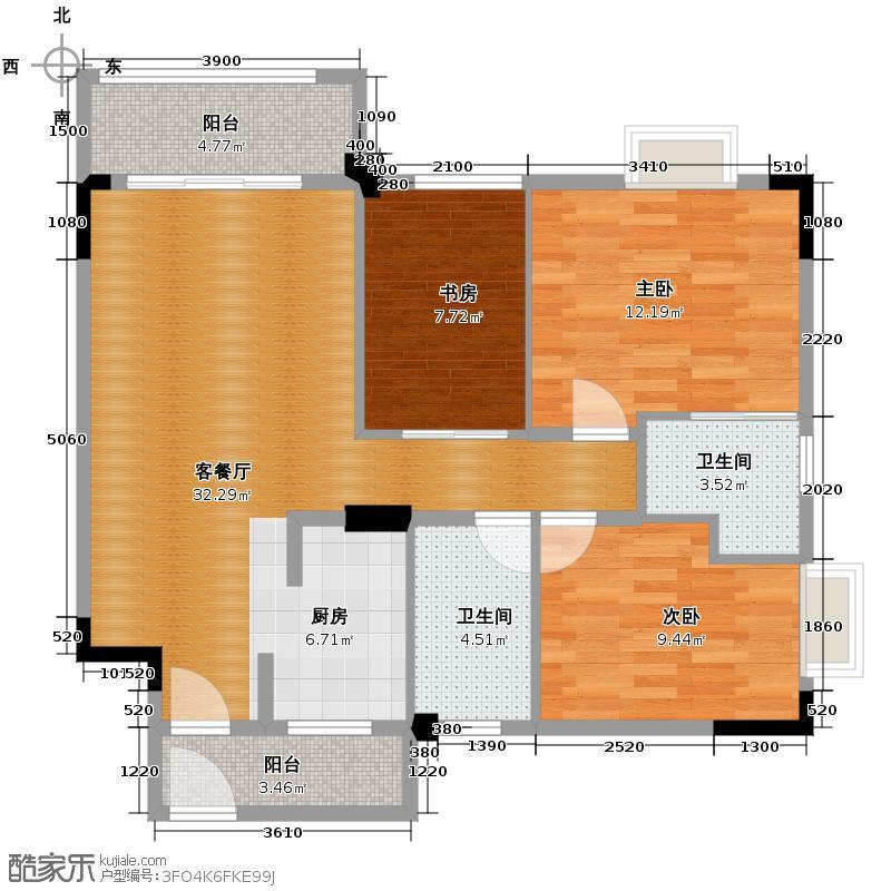 御�上院89.28㎡1-3座/13-15座01单位户型3室2厅2卫