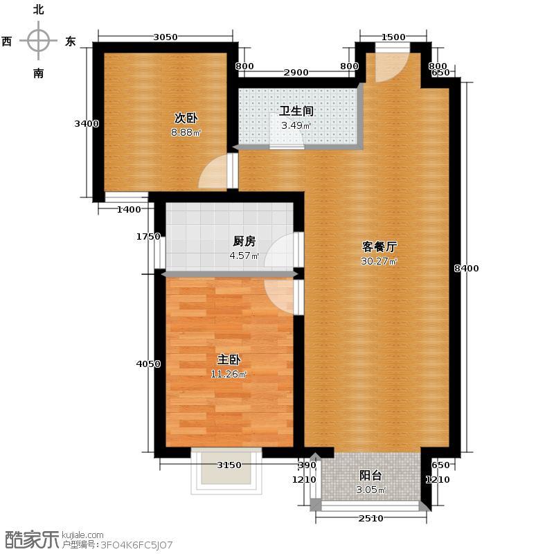 夏威夷・蓝湾86.00㎡F2户型2室2厅1卫