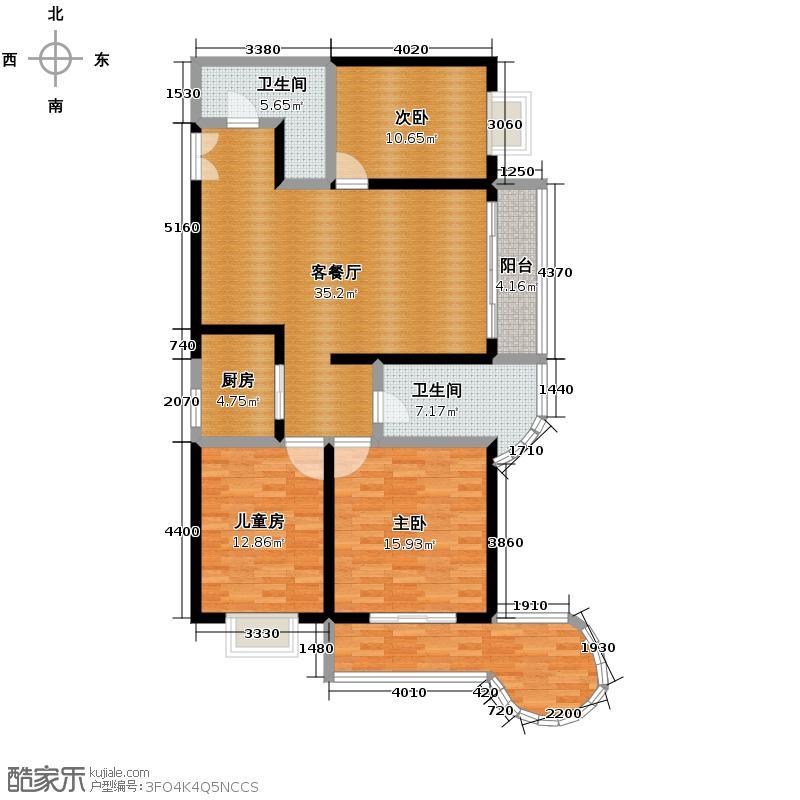 飞天世纪新城143.52㎡A2户型3室1厅2卫1厨