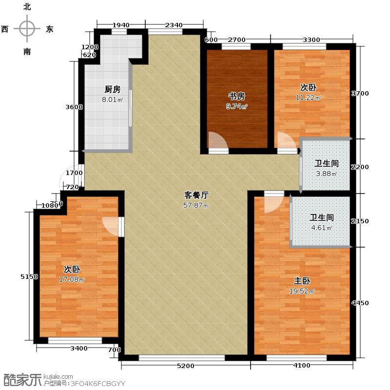 隆德华府174.81㎡新品B户型4室2厅2卫