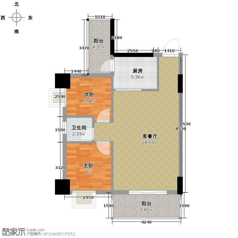 世博嘉园79.00㎡三期四座2-15层04单元户型2室2厅1卫