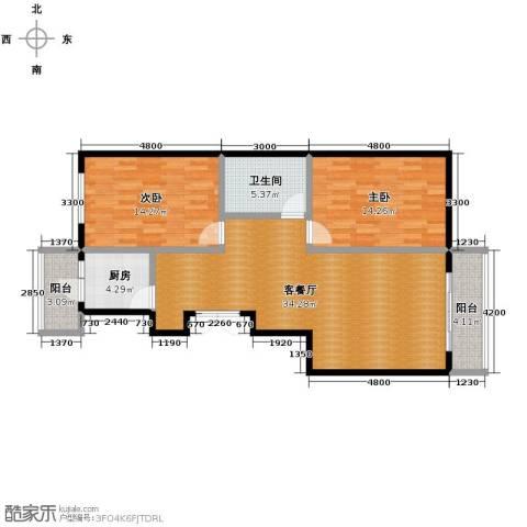 多伦多花园2室1厅1卫1厨112.00㎡户型图