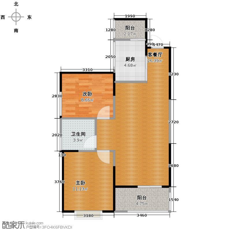 御锦城73.00㎡9、11号楼A2户型2室2厅1卫