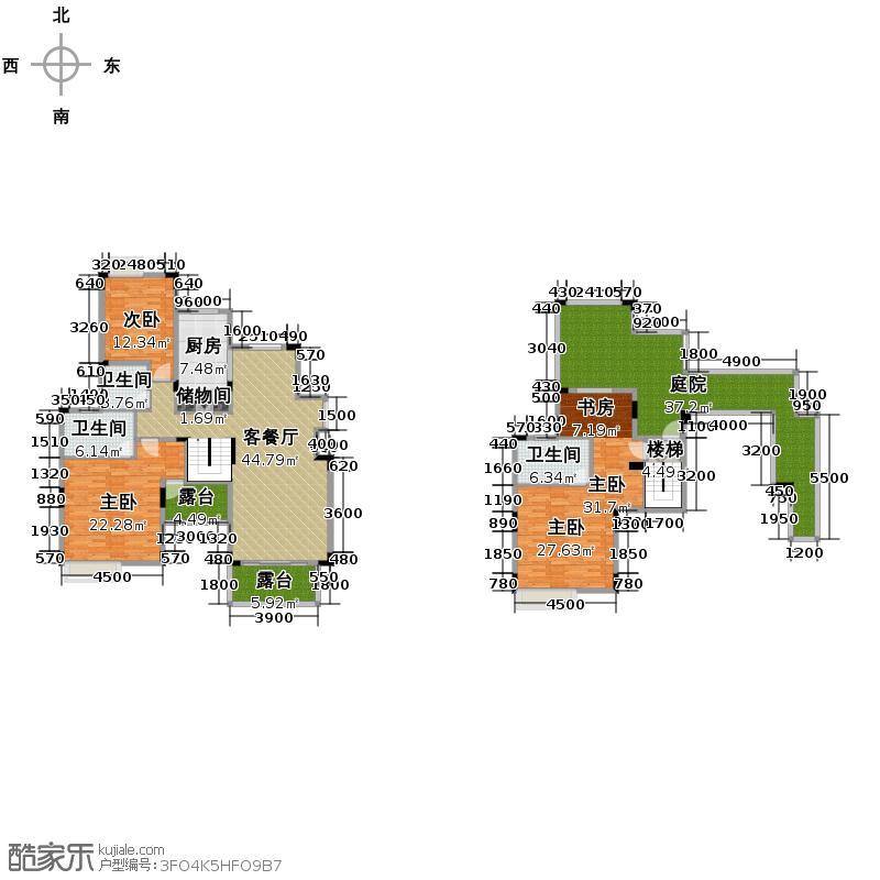 中铁山水一舍156.00㎡一期E栋顶跃E6户型3室1厅3卫1厨