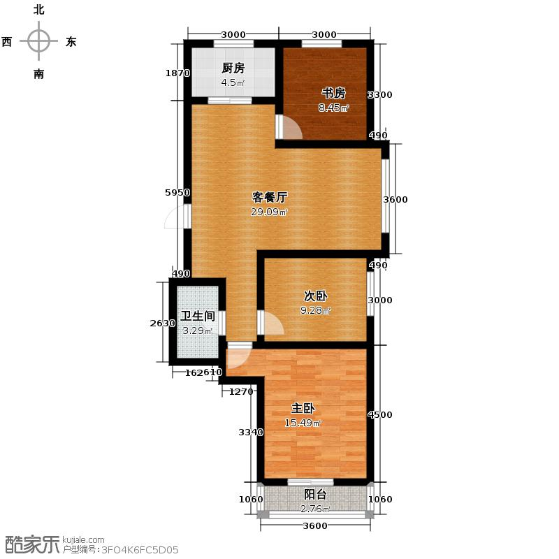 西堤国际112.28㎡C3户型3室1厅1卫1厨