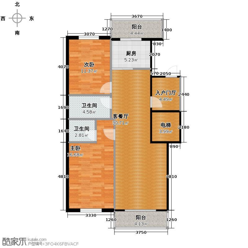 冠城国际105.36㎡1、3号楼b户型2室2厅2卫