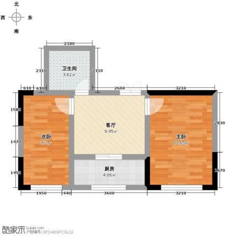 万晟金地公馆2室1厅1卫0厨53.00㎡户型图