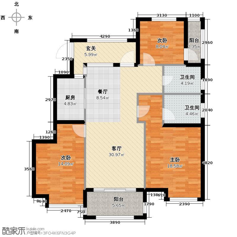 中豪四季公馆125.00㎡边套户型3室2厅2卫