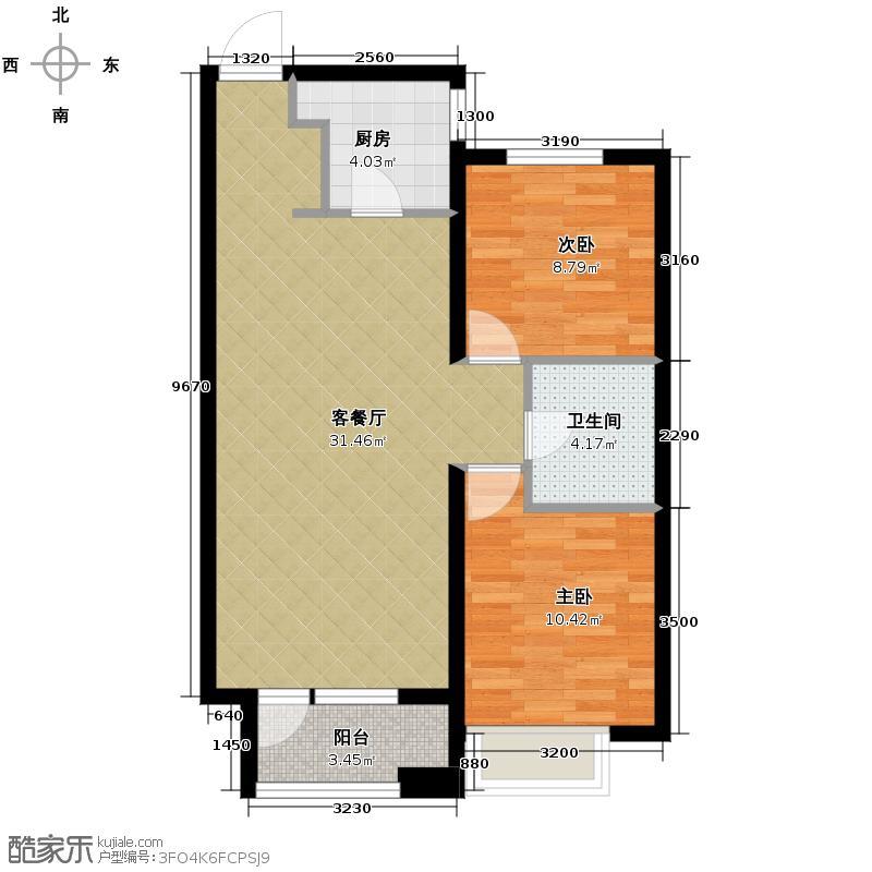 华润橡树湾89.00㎡A户型2室2厅1卫