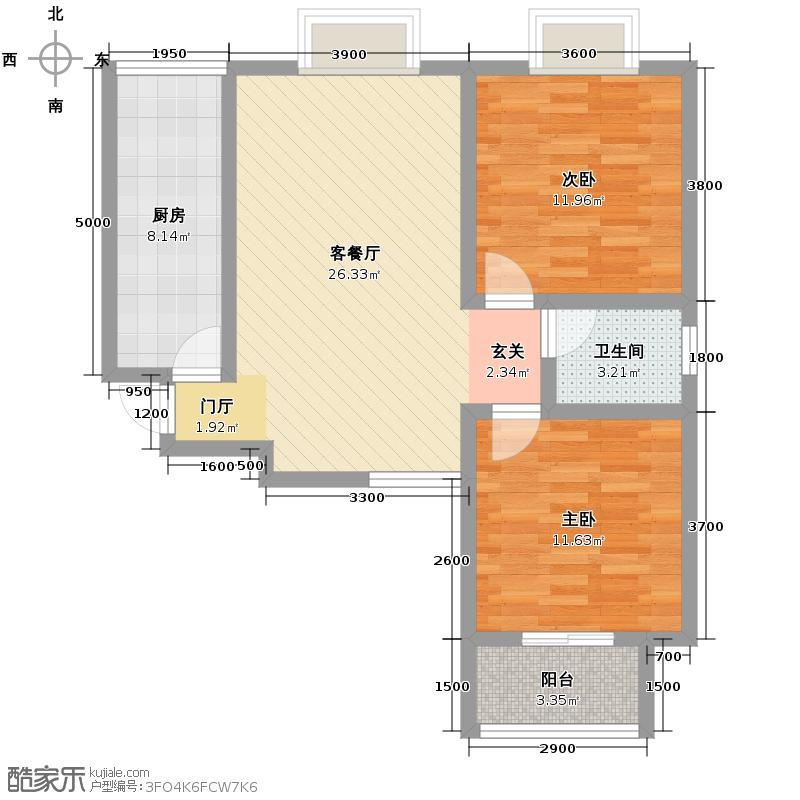 中兴和园91.00㎡1#3单元-04-B10反二室户型2室1厅1卫1厨