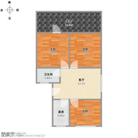牡丹公寓3室1厅1卫1厨78.00㎡户型图