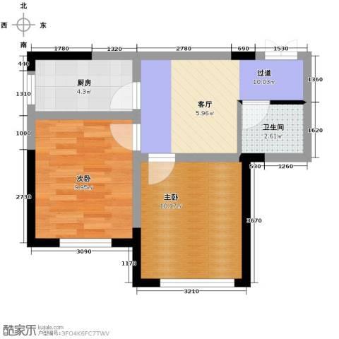 万晟金地公馆2室1厅1卫0厨47.00㎡户型图