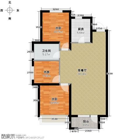 华润橡树湾3室2厅1卫0厨116.00㎡户型图