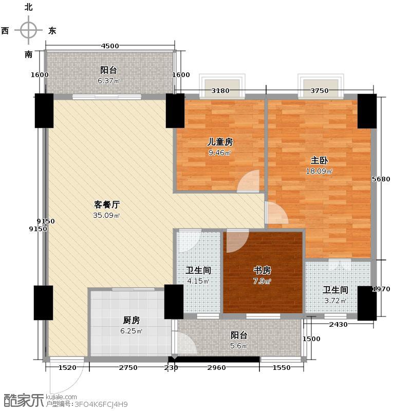 世博嘉园113.22㎡三期四座2-15层02单元户型3室2厅2卫