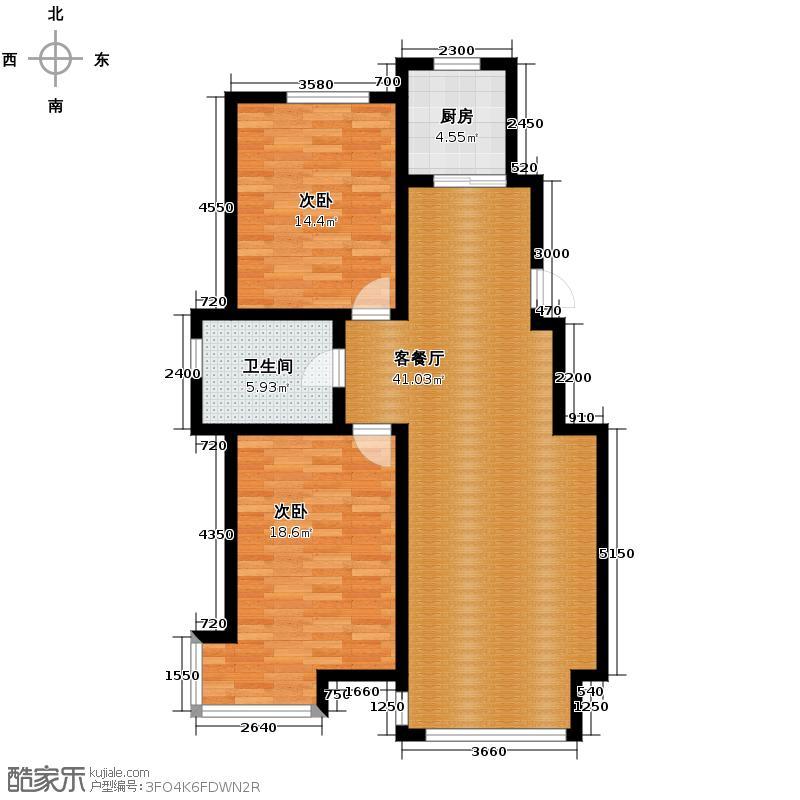 好景山庄116.37㎡四期30、31、32、33号楼户型2室1厅1卫