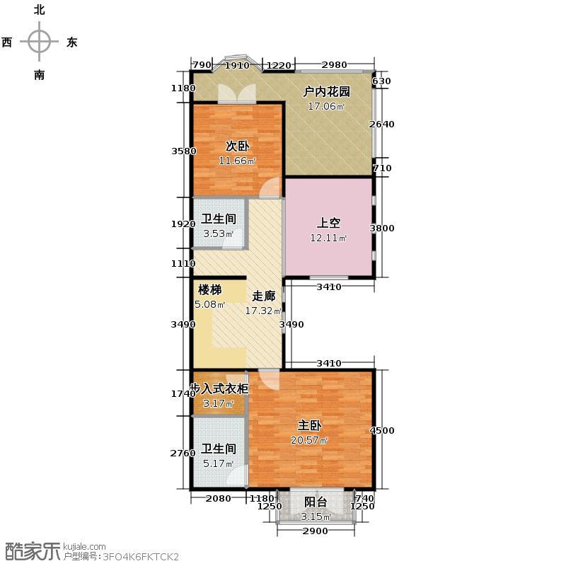 大运河孔雀城101.25㎡b1s二层户型10室