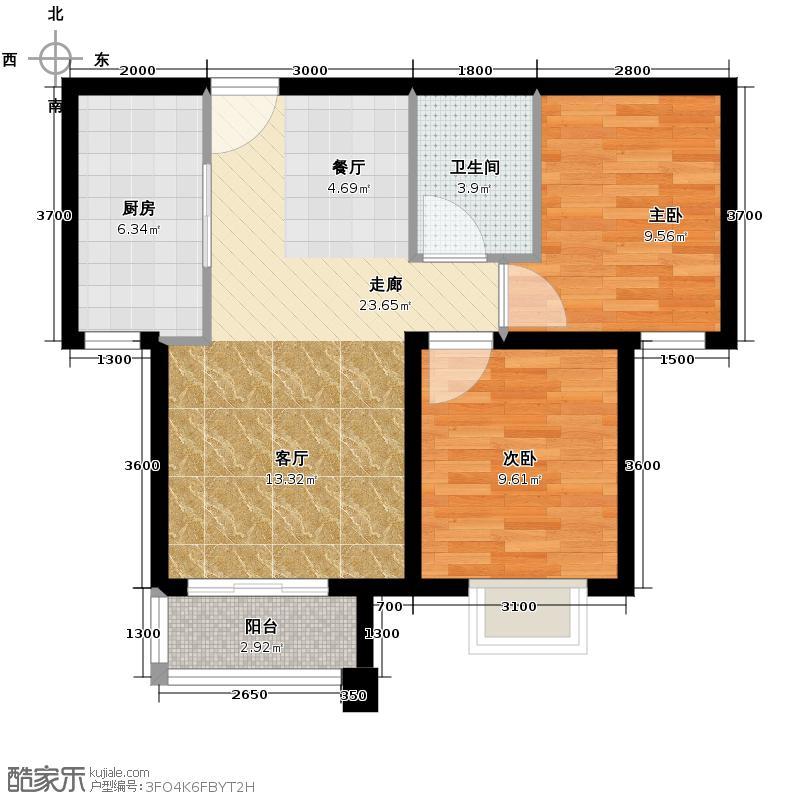 潮白河・孔雀英国宫85.00㎡C3户型2室2厅1卫