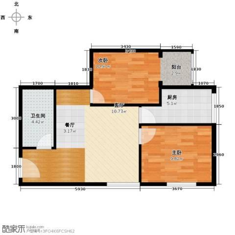 黄金SOHO2室0厅1卫1厨69.00㎡户型图