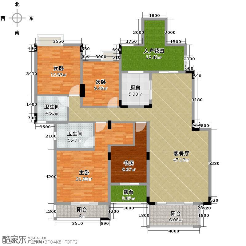 中铁山水一舍134.00㎡一期部分楼栋标准层F3户型4室1厅2卫1厨