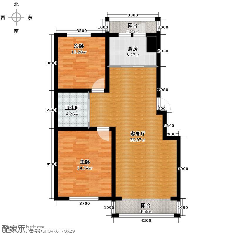 塞纳阳光93.19㎡小高层g5户型2室2厅1卫