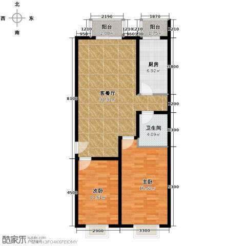 上上城青年社区二期2室1厅1卫1厨107.00㎡户型图