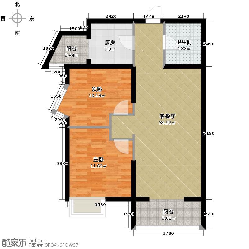 中兴和园89.00㎡5#3单元-02-B15二室户型2室1厅1卫1厨