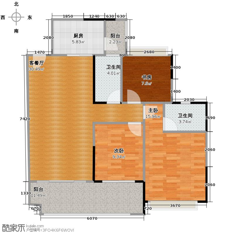 保利红珊瑚106.00㎡4-7栋户型3室2厅2卫