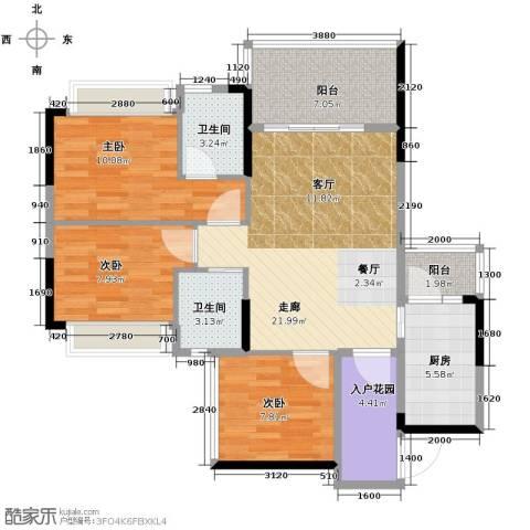 雅庭国际广场3室0厅2卫1厨87.00㎡户型图