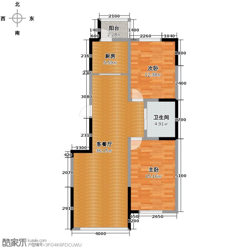 红晟陶然庭苑105.29㎡9号楼B1户型2室2厅1卫