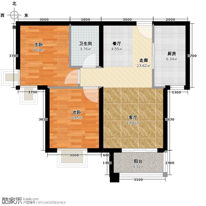 潮白河・孔雀英国宫85.00㎡C2户型2室2厅1卫